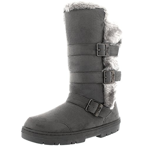 Damen Triple Buckle Pelz Winter Sitefel - gefüttert, wasserdicht