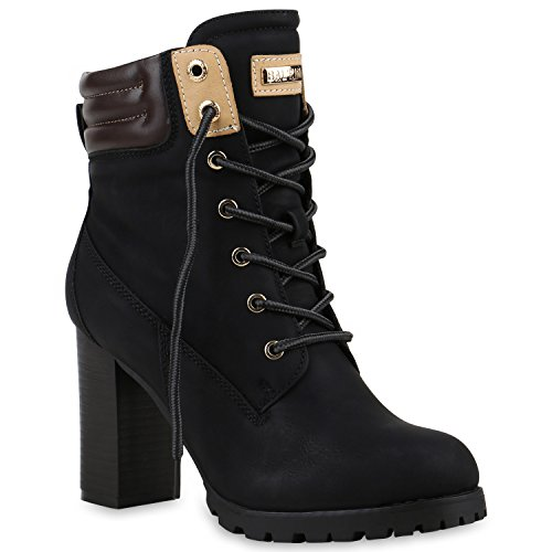 Warm Gefütterte Damen Stiefeletten Worker Boots Outdoor Schuhe, Schwarz, 38