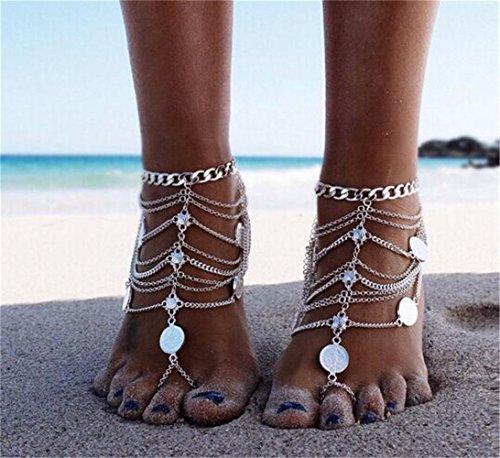 Vintage Fußkette Fuß Orientalische Kette Multikette Anklet Fußschmuck Retro in Silbern Optik -