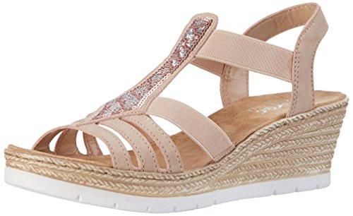 Rieker Damen Sandalen mit Keilabsatz, Mehrfarbig (Altrosa / 31)