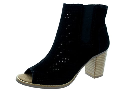 TOMS Majorca Peeptoe Bootie - Black Suede Perforated