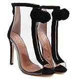 Aisun Damen Fashion Transparent Kunststoff Reissverschluss Pompon Stiletto Sommerstiefel Sandale Schwarz 38 EU - 3