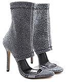 Aisun Damen Transparent Kunststoff Paillette Offene Zehen Stiletto Kurzschaft Sommerstiefel Sandale Silber 36 EU - 3