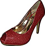 Damen Strass Peep-Toe