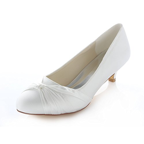 Satin Kitten Heel Pumps, Ivory
