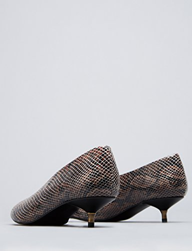 FIND Damen Kittenheel Absatzschuhe, Braun (Snake) - 5