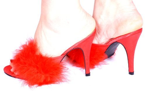 Michele X of London 11,4 cm High Heel Mules, Satin Flauschig, Rot