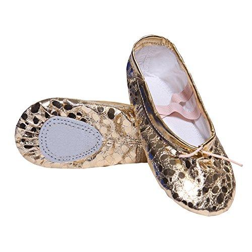Pailletten Ballettschuhe für Mädchen Gold Silber