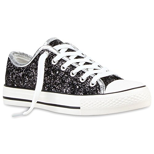 Damen Sneaker Low Metallic Turnschuhe
