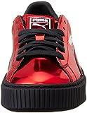 Puma Damen Schuhe / Sneaker Basket Platform Metallic, Rot, 38.5 EU - 4