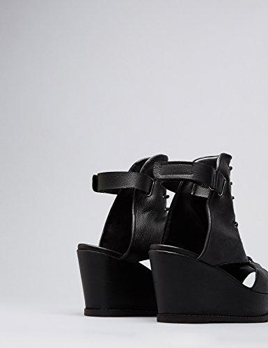FIND Damen Bree Wedge Sandalen, Schwarz (Black), 40 EU - 5