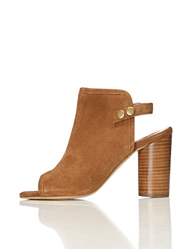 FIND Damen Peeptoe Booties mit Blockabsatz