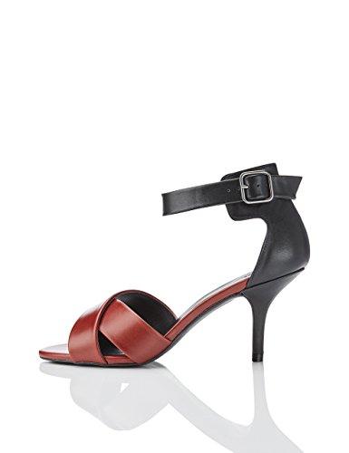 FIND Damen Sandalen mit Pfennigabsatz Mehrfarbig