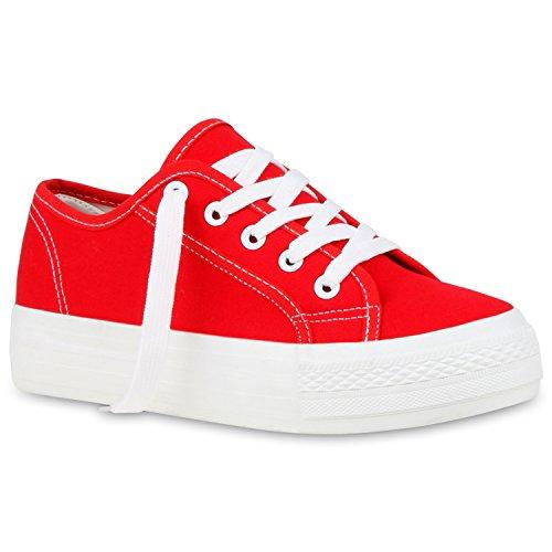 Sportliche Damen Sneaker Low Plateau, Rot
