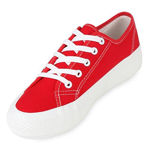 Sportliche Damen Sneakers Blumen Sneaker Low Plateau Spitze Glitzer Animal Prints Schnürer Schuhe 103494 Rot 37 | Flandell® - 2