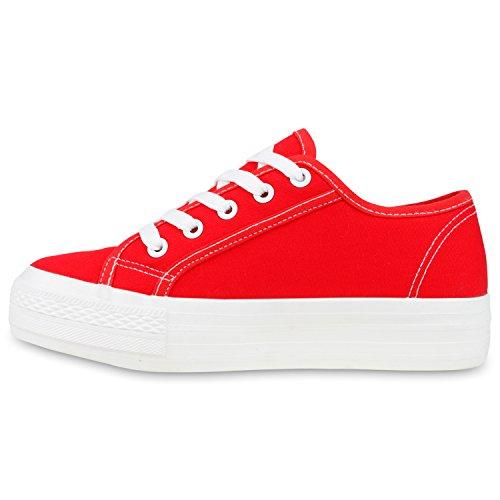 Sportliche Damen Sneakers Blumen Sneaker Low Plateau Spitze Glitzer Animal Prints Schnürer Schuhe 103494 Rot 37 | Flandell® - 3