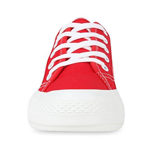 Sportliche Damen Sneakers Blumen Sneaker Low Plateau Spitze Glitzer Animal Prints Schnürer Schuhe 103494 Rot 37 | Flandell® - 4
