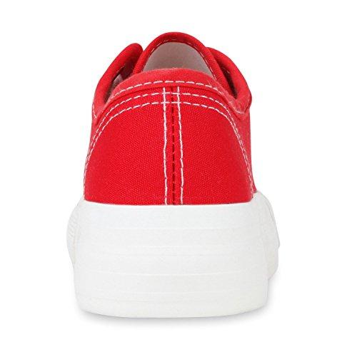 Sportliche Damen Sneakers Blumen Sneaker Low Plateau Spitze Glitzer Animal Prints Schnürer Schuhe 103494 Rot 37 | Flandell® - 5