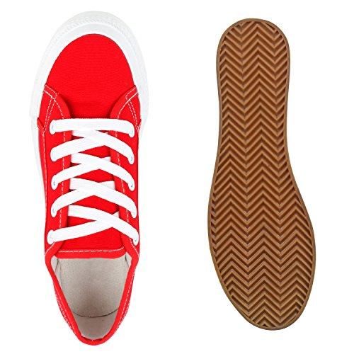 Sportliche Damen Sneakers Blumen Sneaker Low Plateau Spitze Glitzer Animal Prints Schnürer Schuhe 103494 Rot 37 | Flandell® - 7