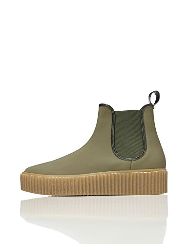 FIND Damen Plateau Sneaker, Grün (Khaki)