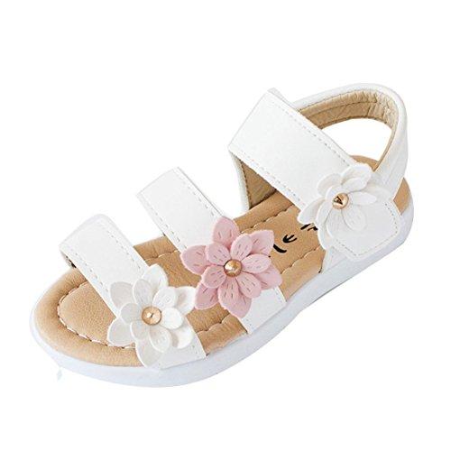 Kinder Sandalen mit Blumen, Lauflernschuhe (25, Weiß)