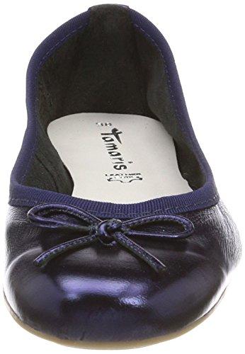Tamaris Damen 22165 Geschlossene Ballerinas, Blau (Navy Metallic), 41 EU - 2