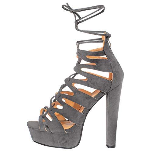 New Womens Damen High Heels Plattform Gladiator Sandalen Schnür Stiefel Schuh Größe - Grau Kunstwildleder, 38 - 2