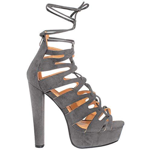 New Womens Damen High Heels Plattform Gladiator Sandalen Schnür Stiefel Schuh Größe - Grau Kunstwildleder, 38 - 3
