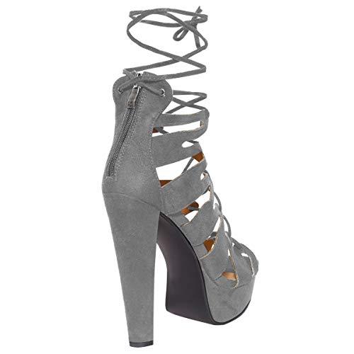 New Womens Damen High Heels Plattform Gladiator Sandalen Schnür Stiefel Schuh Größe - Grau Kunstwildleder, 38 - 4
