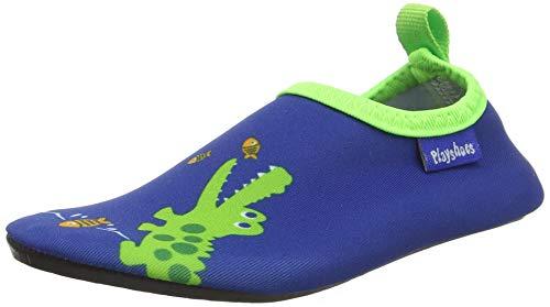 Playshoes Unisex-Kinder Badeslipper, Krokodil, Blau