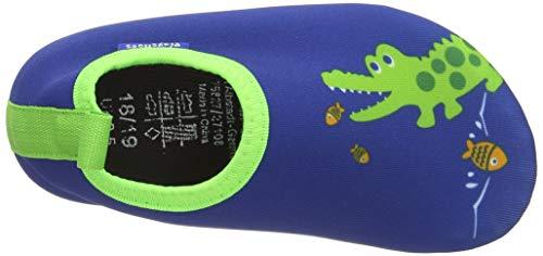 Playshoes Unisex-Kinder Badeslipper, Krokodil, Blau - 5