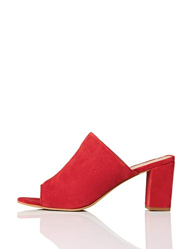 FIND Mules mit Peeptoe und Blockabsatz, Rot