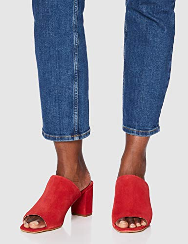 FIND Mules Damen Sandalen mit Peeptoe, Offener Ferse und Blockabsatz, Rot (Dark Red), 40 EU - 3
