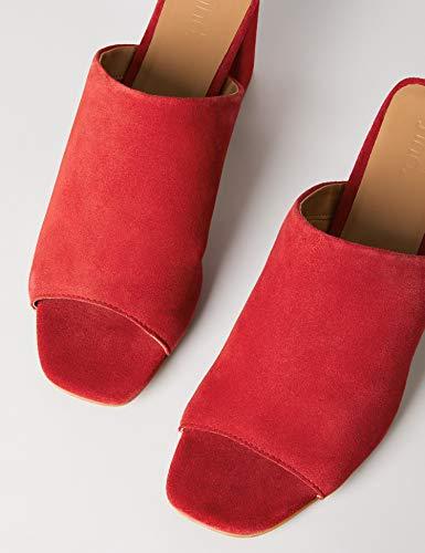 FIND Mules Damen Sandalen mit Peeptoe, Offener Ferse und Blockabsatz, Rot (Dark Red), 40 EU - 4