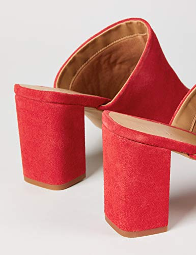 FIND Mules Damen Sandalen mit Peeptoe, Offener Ferse und Blockabsatz, Rot (Dark Red), 40 EU - 5