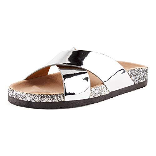 Lack Glitzer Komfort Sandaletten, Metallic