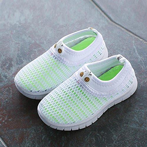 FNKDOR Mesh Schuhe für Kinder Jungen Mädchen Geschlossene Sandalen Atmungsaktiv Outdoorsandalen Sommer Strand Wasserschuhe Badeschuhe(27.5,Weiß) - 3