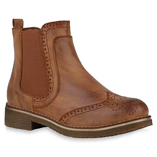 Damen Stiefeletten Chelsea Boots, Hellbraun