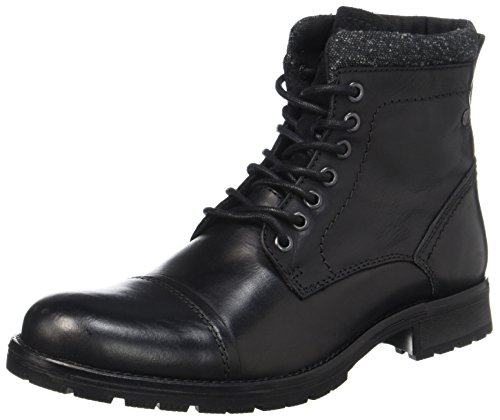 JACK & JONES Herren Jfwmarly Leather Stiefel, Schwarz