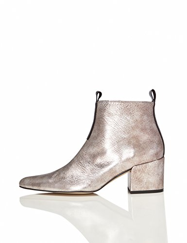 FIND Damen Ankle Boots mit Blockabsatz, Silber