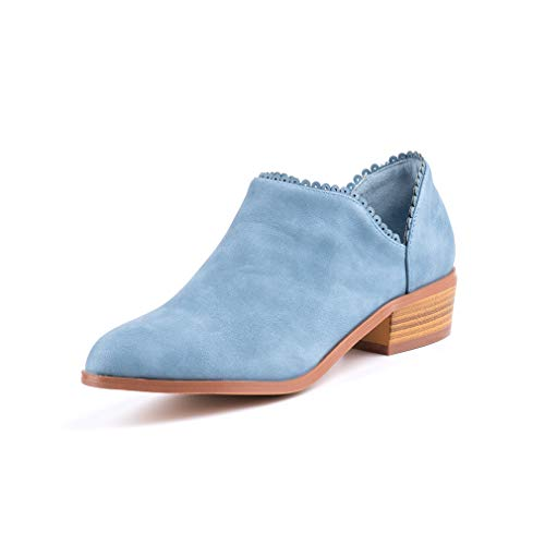 Wildleder Low Top Ankle Boots Blockabsatz, Blau