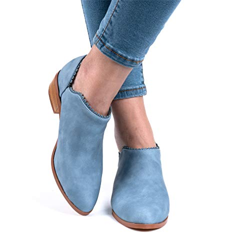Wildleder Low Top Ankle Boots Blockabsatz, Blau - 5