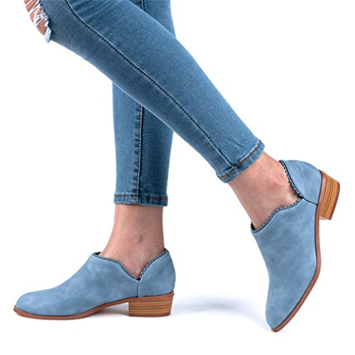 Wildleder Low Top Ankle Boots Blockabsatz, Blau - 6