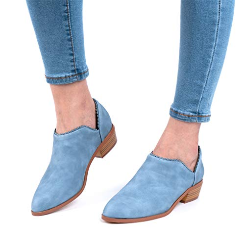 Wildleder Low Top Ankle Boots Blockabsatz, Blau - 2