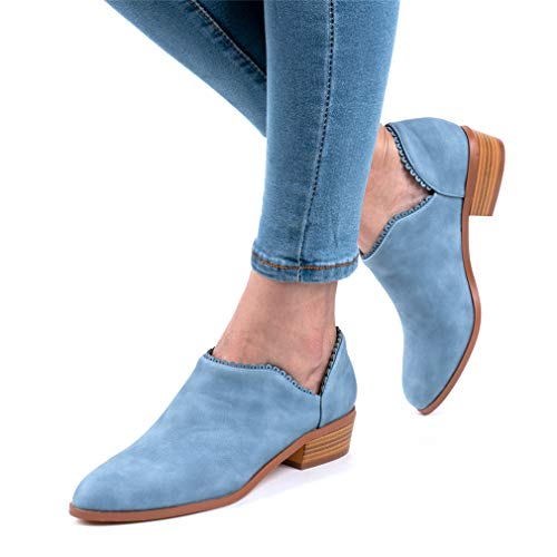 Wildleder Low Top Ankle Boots Blockabsatz, Blau - 3