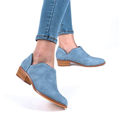 Wildleder Low Top Ankle Boots Blockabsatz, Blau - 4