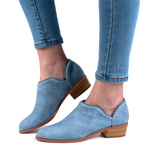 Wildleder Low Top Ankle Boots Blockabsatz, Blau - 7