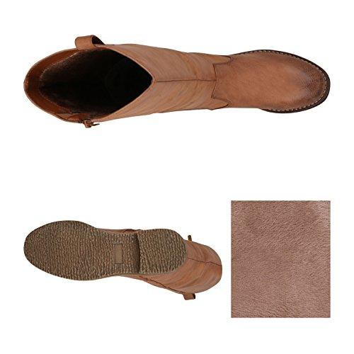 Gefütterte Damen Stiefel, Hellbraun - 3