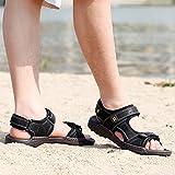 Feidaeu Herren Strandschuhe Sandalen Klettverschluss Atmungsaktiv Entspannt Peep-Toe Gemütlich Sandaletten Schwarz 42 EU - 7