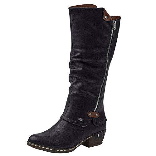 Rieker 93655 Damen Langschaft Stiefel, schwarz